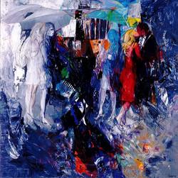 Kiss in the rain, olio e acrilico su tela, 140x140 cm