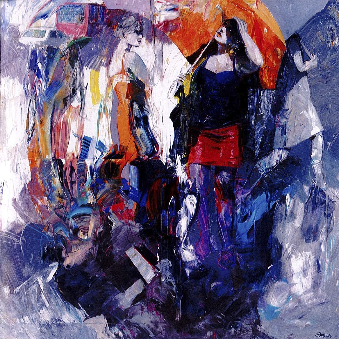 Women and umbrellas, olio e acrilico su tela, 140x140 cm