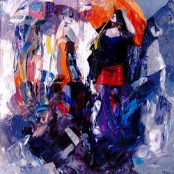 Women and umbrellas, olio e acrilico su tela, 140x140 cm
