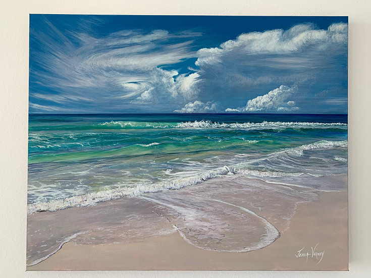 "Distant Storm & Turquoise Waters | Acrylic | 20"" x 30"""