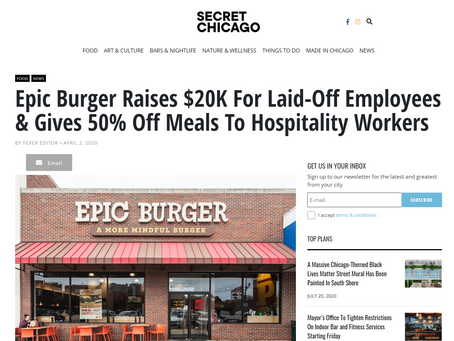 Secret Chicago: Epic Burger Raises $20K For Laid-Off Employees and Gives 50% Off Meals