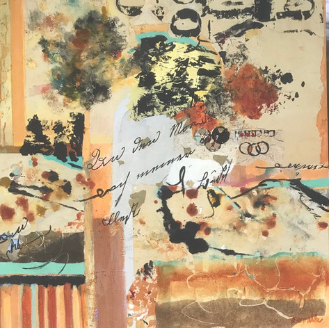 Writing On The Wall   Acrylic Mixed Media Collage   30 x 30