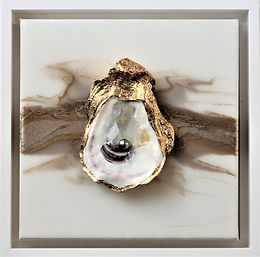 "No. 404 | Mixed Media Genuine Oyster and Pearl  | 8"" x 8"" 
