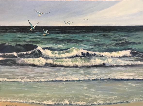 "Gulf Waves   Oil on gallery wrap canvas   18"" x 24""   Unframed"