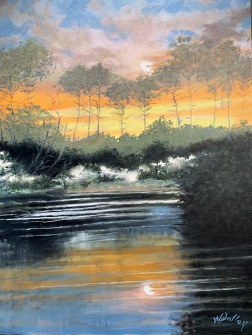 """Sunset at Grayton Beach   Oil   30"""" x 24""""   Unframed"""
