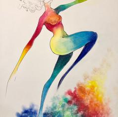 """Prism Dancer   Pen and Ink   Chalk Pastel   18"""" x 24"""""""