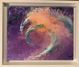 "Surfing The Wave | Acrylic, glass, epoxy on canvas | 20"" x 16"" 