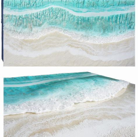 "Emerald Coast | Resin, glass and sand on wood board | 48"" x 24"""