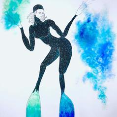 "Blue La La (Ooh La La)   Pen and Ink   Chalk Pastel   18"" x 24"""