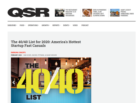 QSR Magazine: Epic Burger Makes 40/40 List - Named Among America's Hottest Startup Fast Casuals