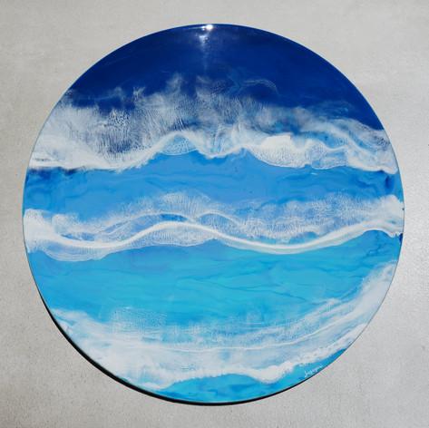 """Blue Ocean 1   Resin on Wood Board   24"""" diameter"""