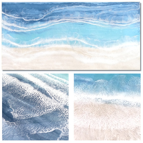 "Life on the Beach | Resin and Sand on Wood  |  48"" x 24"" | Unframed"
