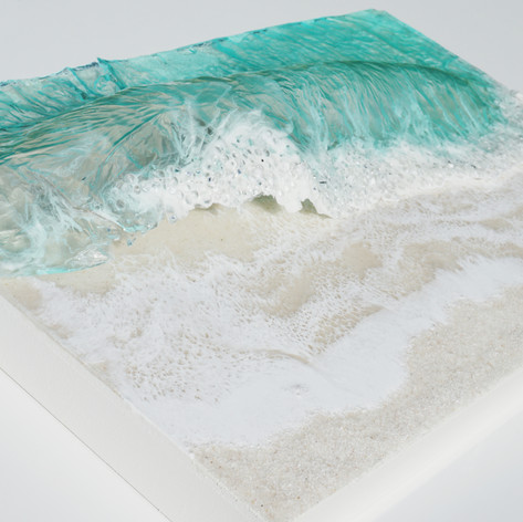 Missing the Beach | Resin, Glass + Sand on wood board | 26 x 16