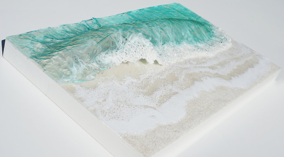 "Missing the beach | Resin, glass and sand on wood board | 26"" x 16"""