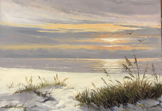"""Sunset and Sea Oats   Oil on canvas   12"""" x 16""""   Framed"""