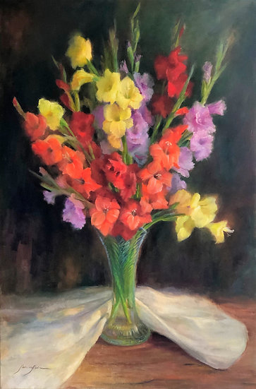 "Gladioli | Oil | 24"" x 36"" | Unframed"
