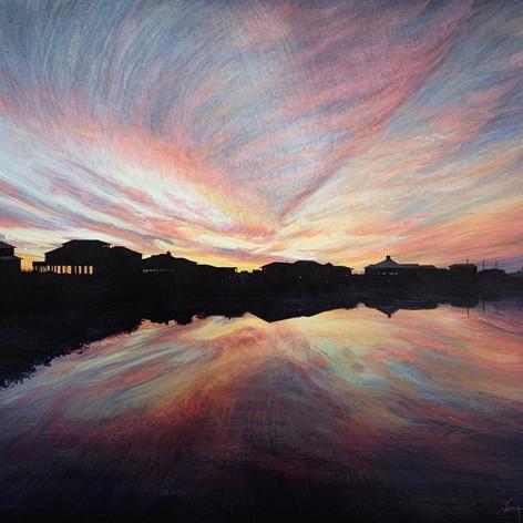 "Sunset Reflections On Oyster Lake   Acrylic   18"" x 24"""