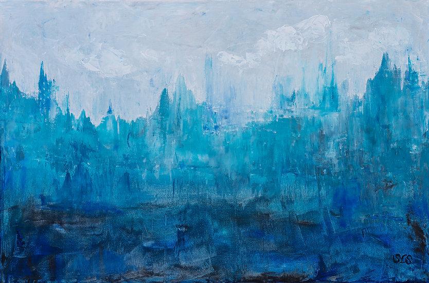 "Blues Your Imagination | Acrylic | 36"" x 24"" | Unframed"