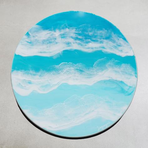"Emerald Water 2 | Resin on Wood Board | 18"" diameter"