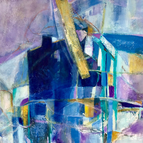 House of Blues II | Acrylic Mixed Media | 18 x 18