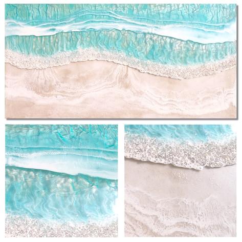 "Emerald Coast | Resin, Glass, Sand on Wood  |  48"" x 24"" | Unframed"