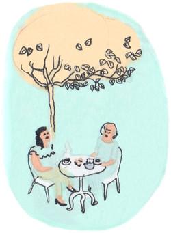 thé sous l'arbre