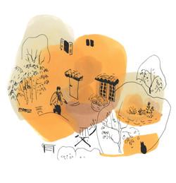 dessin orange terrasse