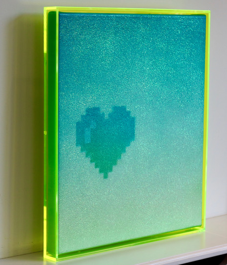 fragmented soul series, blue heart, with frame