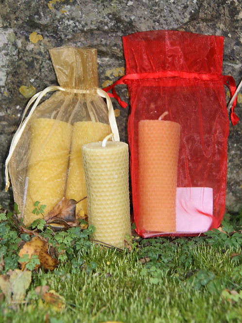 """Solid pure Beeswax candles. Pair 5"""" x 2""""."""