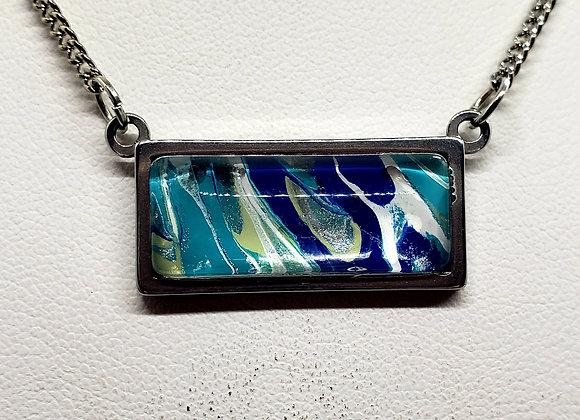 Stainless Horizontal Bar Pendant Necklace