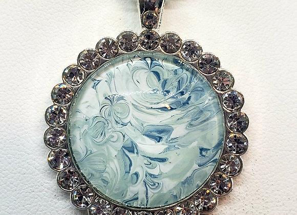 Rhinestone Surround Pendant Necklace