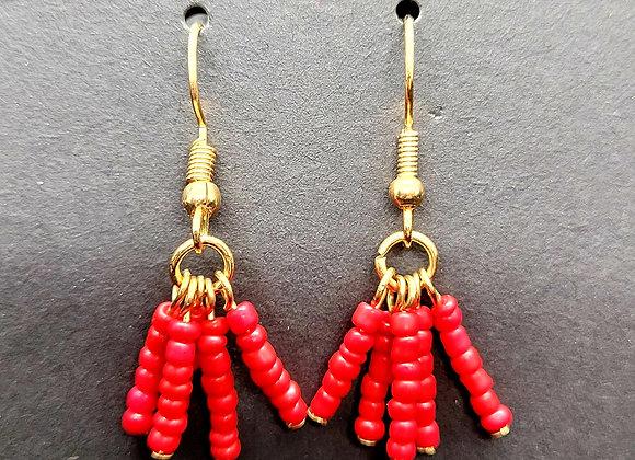 Chiefs Red Bead Dangle Earrings