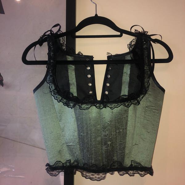 Deadstock sage green silk