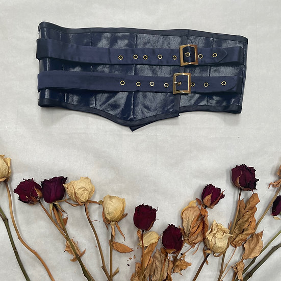 """Blue Vinyl Corset Belt (Waist 26"""")"""