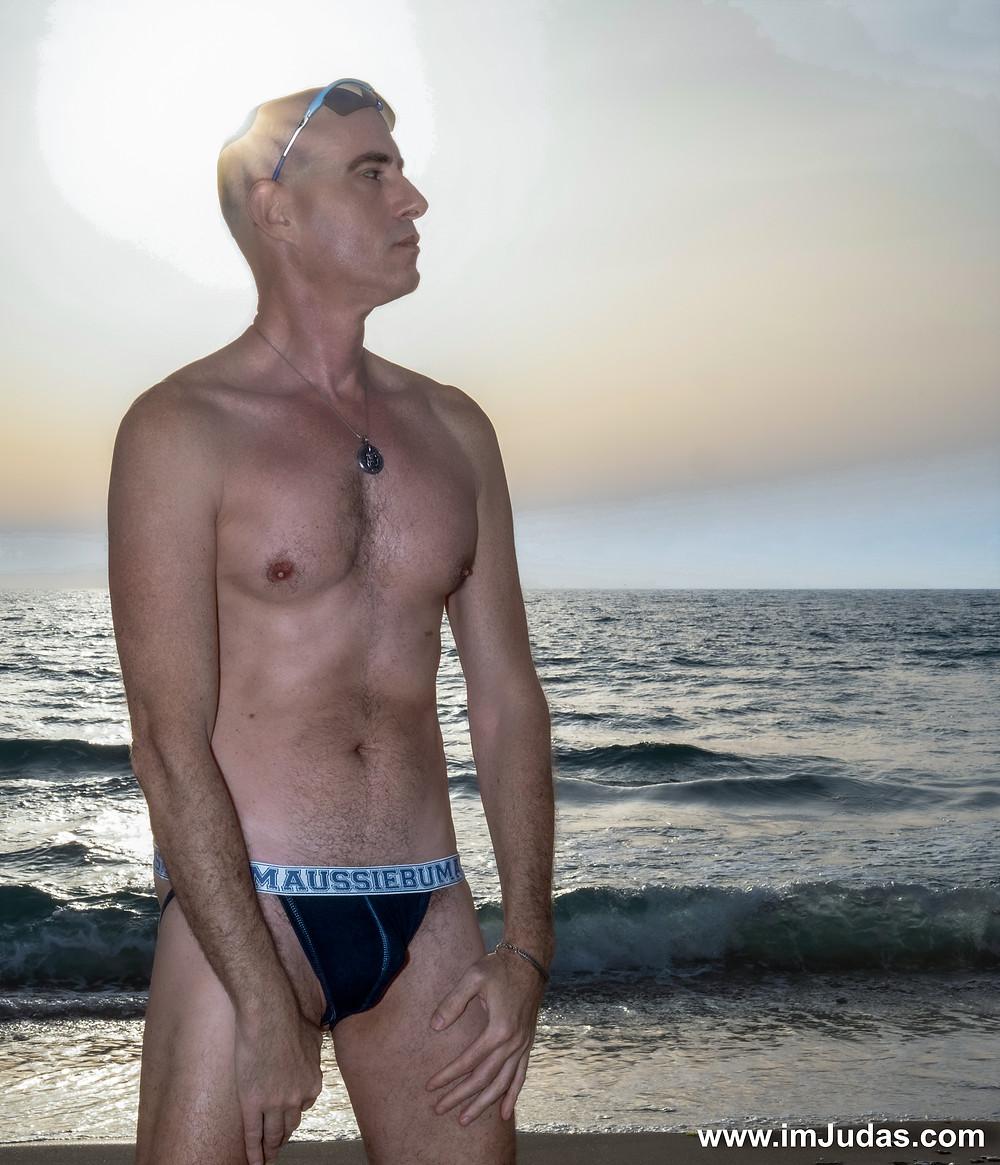Wearing underwear at the beach