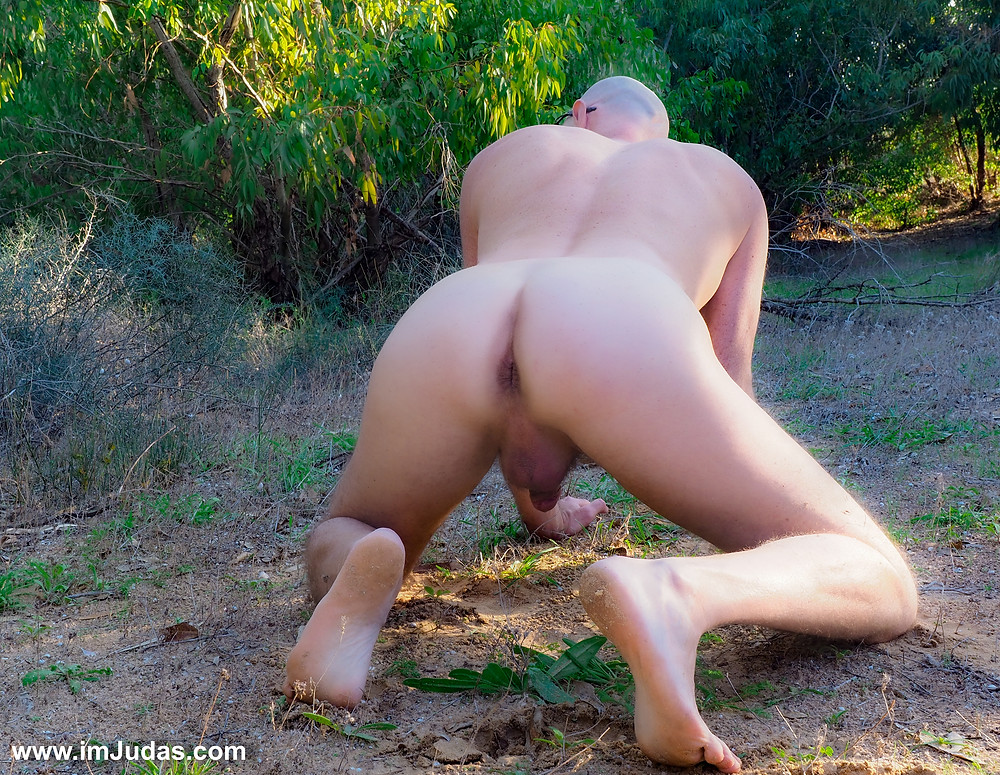 Naked in doggie posture in the forest, showing my ass and my anus