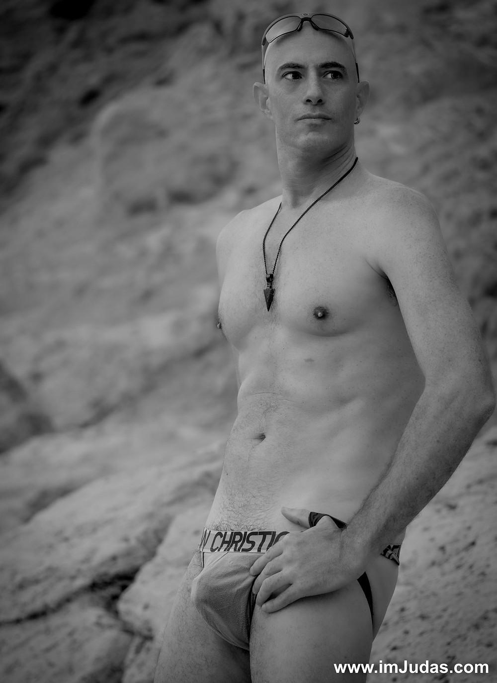 Wearing a jock at the beach