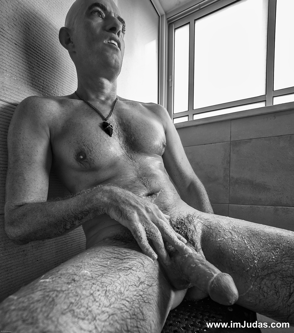 naked nude male man model shower cock hard