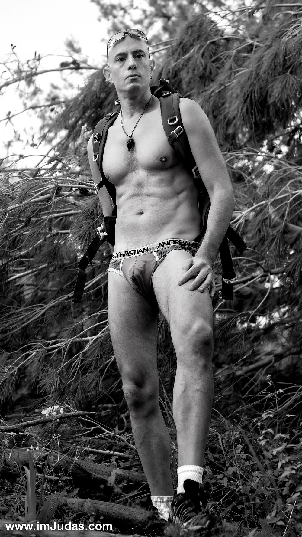 Shirtless in the forest, in my underwear