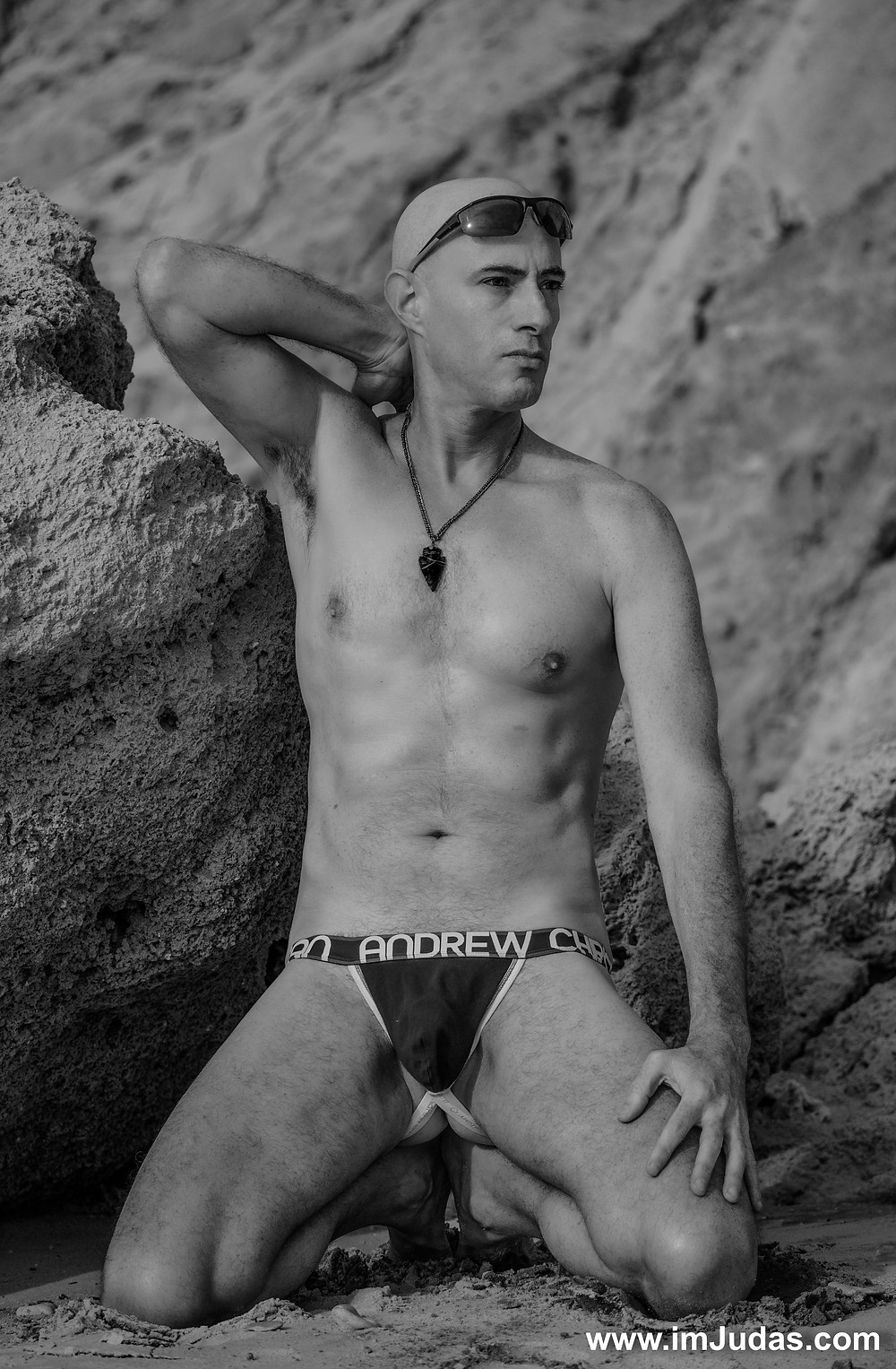 Wearing a jock at the beach
