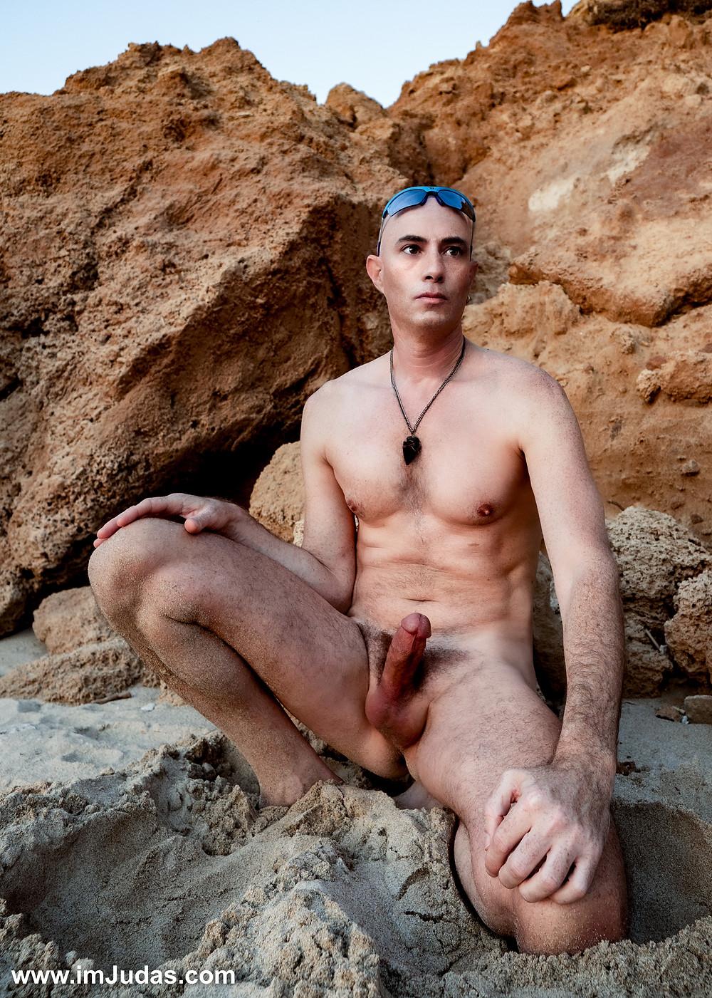 Hard and naked at the beach