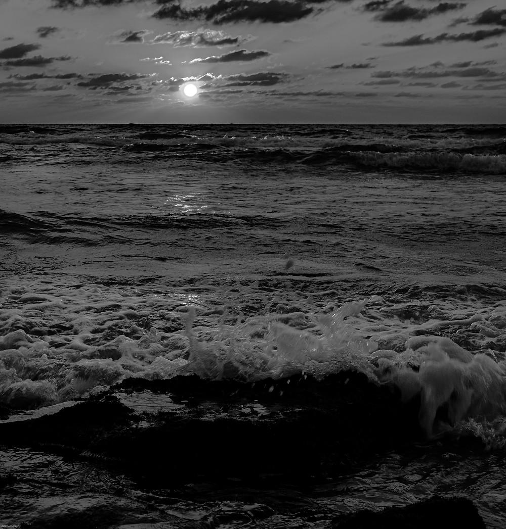 beach sunset monochrome dramatic