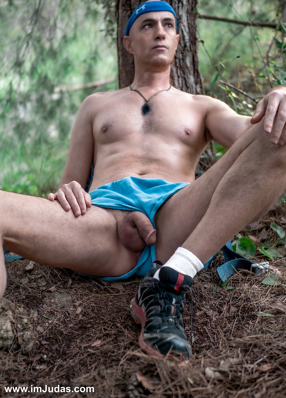 naked in the forest, showing my cock