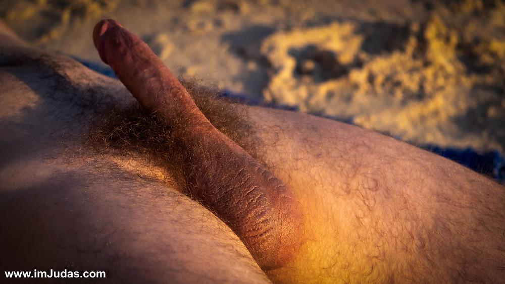 Hard cock at the beach