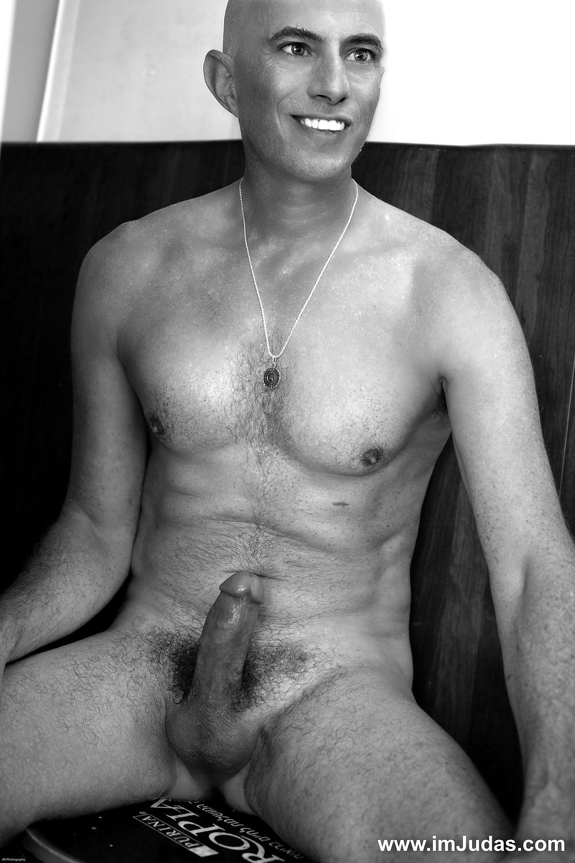cock hard portrait naked nude male man model monochrome erect
