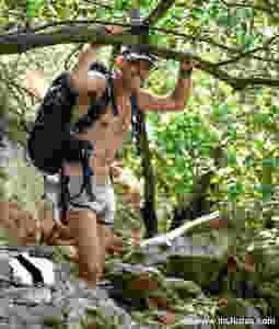 Shirtless and hiking