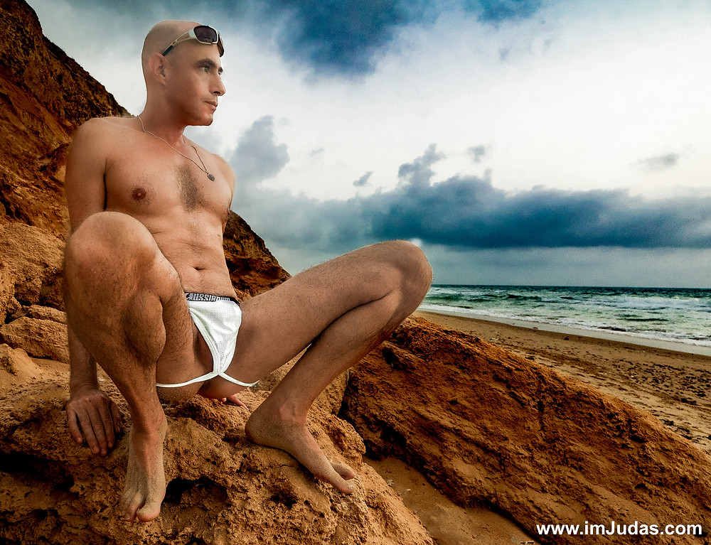 Ion my jocks at the nude beach, exposing my ass