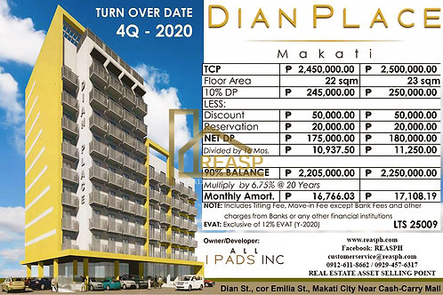 DIAN Place by IPADS INC in MAKATI Buendia, MMLA