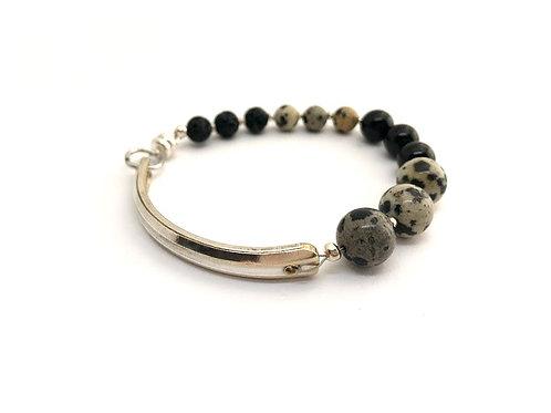 Signature Bracelet with Dalmatian Jasper and Lava Beads