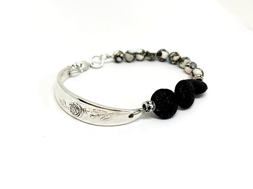 Signature Bracelet with Lava Beads and White Howlite stone